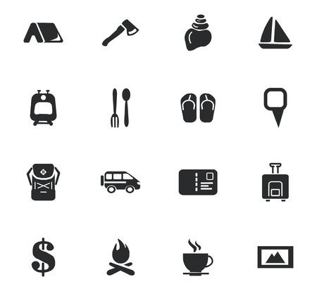 Travel icons set en symbolen voor web-gebruikersinterface Stock Illustratie
