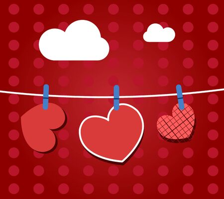 Paper hearts hanging from a rope, on red wallpaper. Part of Valentines day set.