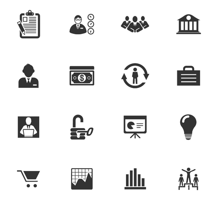 documents circulation: Business icons set and symbols for web user interface Illustration