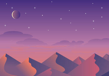 Cartoon desert landscape, hills and mountains silhouettes, nature horizontal background
