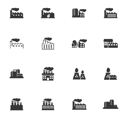 heavy construction: Industrial building factory and power plants icon set Illustration