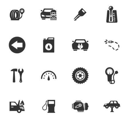 automatic transmission: Auto icons set and symbols for web user interface