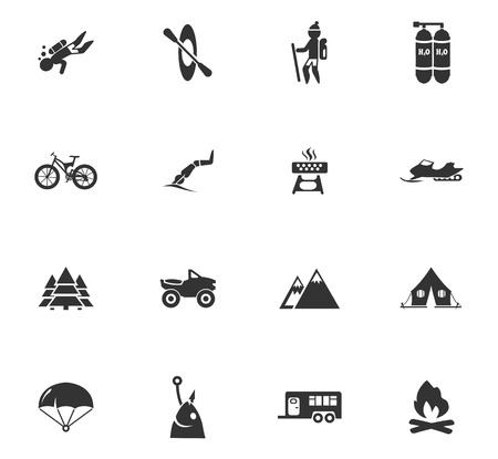 Active recreation icons set for website design