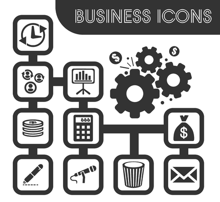 Business icons set and symbols for web user interface.