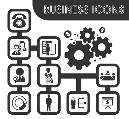 Business icons set and symbols for web user interface Illustration