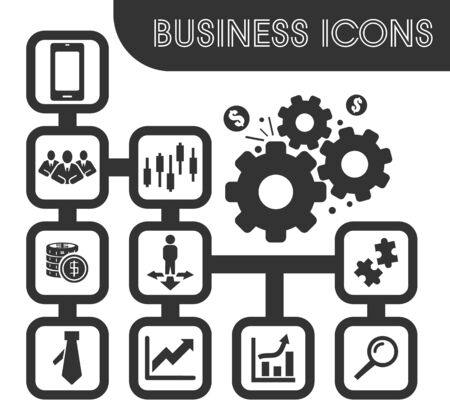 Set of business icons and symbols for web user interface Illustration