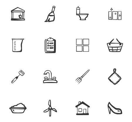 Doodle Cleaning company icons set for web design