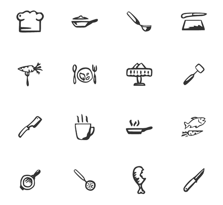 Doodle Kitchenware and food icons set for web design