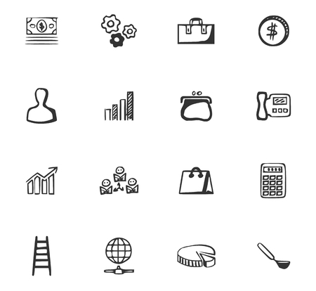 Doodle Business icons set for website design