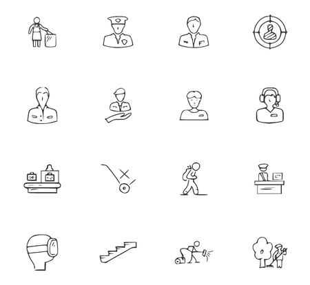 Doodle Travel icons set for website design 일러스트
