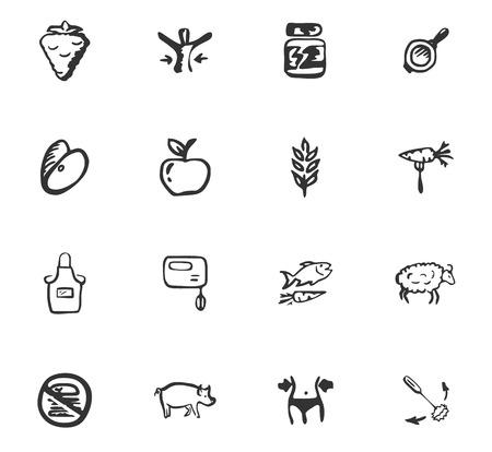 Doodle Fitness Icons Set für Website-Design Standard-Bild - 98533260