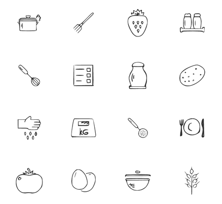 Doodle Kitchen icons set for website design