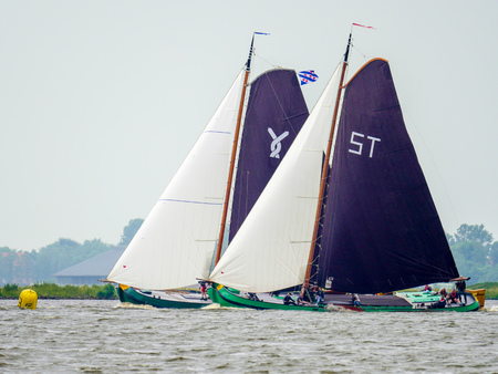 Heegermeer, The Netherlands - june 10 2017: Sailing competition with Skutjes on the Heegermeer in Friesland in the north of the Netherlands.