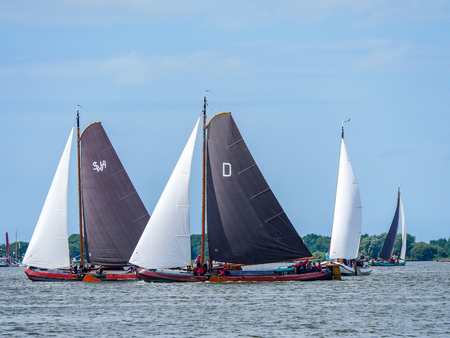 Elahuizen, The Netherlands - august 11 2017: Annual SKS sailing competition with Skutsjes on the Fluessen at Elahuizen in Friesland. Editorial