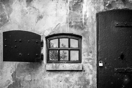 Steel door and window in concrete building at Fort Niewersluis, built between 1849 and 1851. Part of the New Holland Waterline.