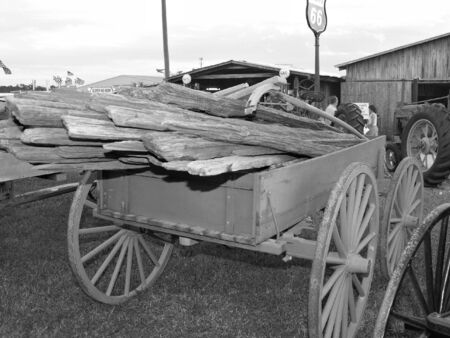 old wood farm wagon: Cart of wood at a state fair Stock Photo