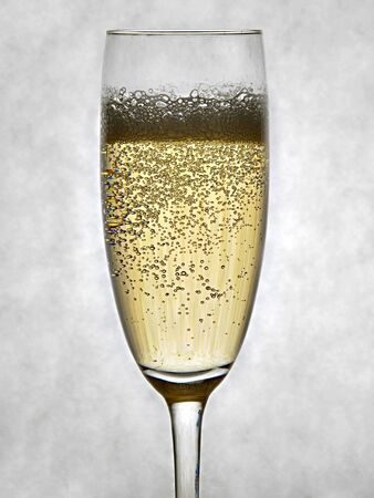 A sparkling glass of Champagne on a gray background Stok Fotoğraf