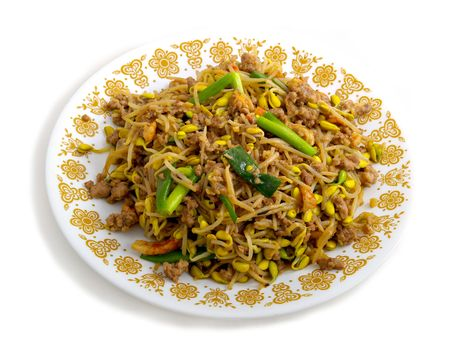 bean sprouts: A Chinese dinner made with Bean Sprouts