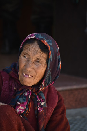 Old Tibetan woman in Leh, Ladakh, India