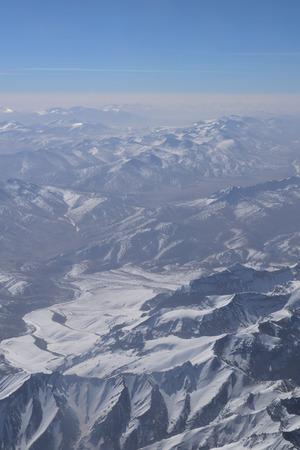 Flight over Himalayas from Leh, Ladakh, India Stock Photo