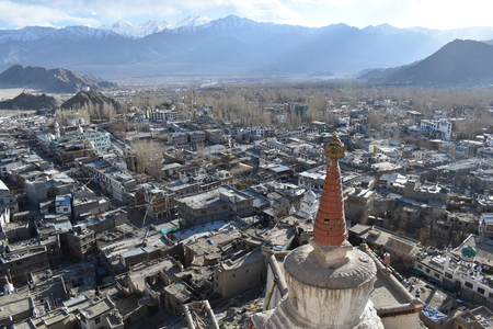 Gompa above Leh. View from Leh-Palace. Early spring in Ladakh, India Stock Photo