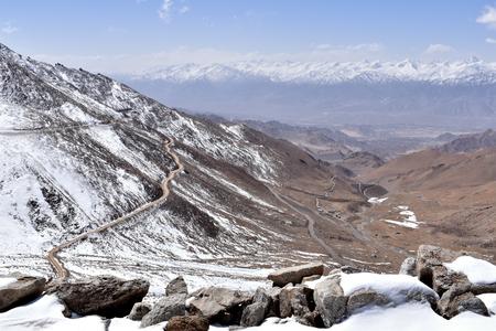 Mountain road from Leh to Khardung La Pass, Ladakh, India