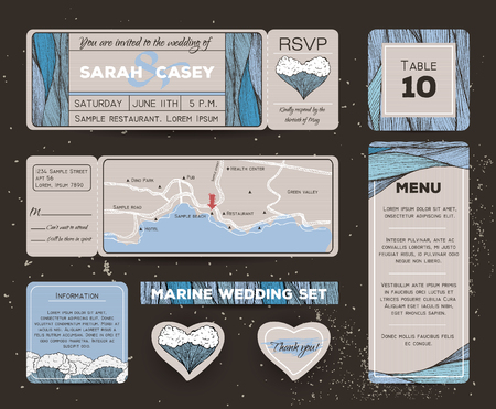 rsvp: Marine wedding invitation set with rsvp card. Ticket to a sea party with road map Illustration