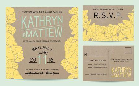 rsvp: Elegant wedding invitation set with rsvp card on paper