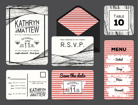 wedding table decor: wedding invitation set with rsvp, table and menu cards. wavy and stripy ornament. monochrome retro design Illustration