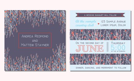 flax: Wedding invitation card with floral background and decorated with  branch of flax