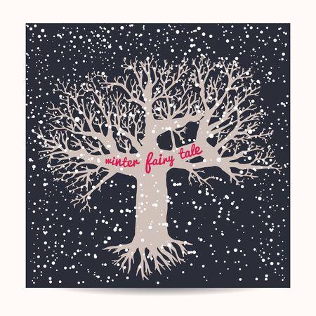 winter tree: snowflake background. winter tree