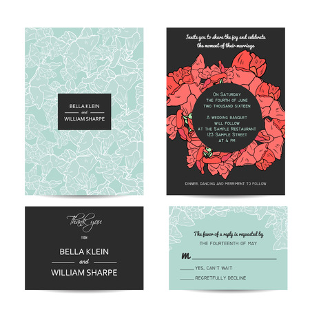 rsvp: abstract wedding floral set with invitation and rsvp cards