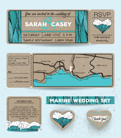rsvp: Marine wedding invitation set with rsvp card. Ticket to a sea party with road map Stock Photo