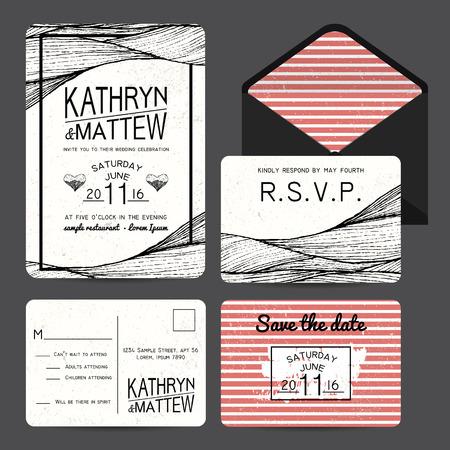 rsvp: wedding invitation set with rsvp card. wavy and stripy ornament. monochrome retro design Stock Photo