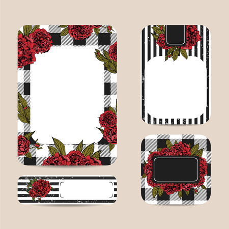 botanic: Botanic templates with checkered background. Beautiful cards decorated with peonies