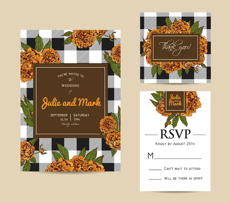 Botanic invitation set with checkered background. Beautiful invitation decorated with peonies Vettoriali