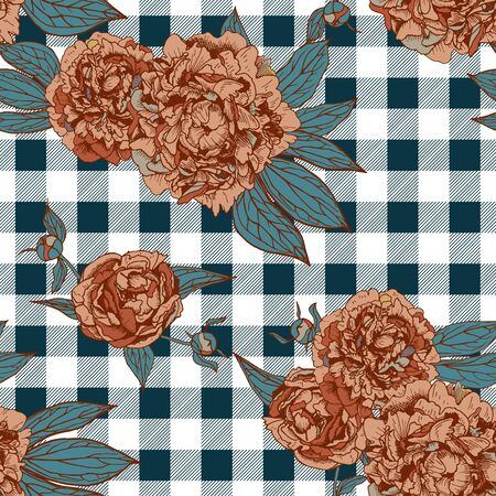floral seamless pattern with beautiful peonies and checkered background Illustration