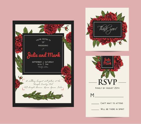 rsvp: Botanic invitation set with rsvp card. Beautiful invitation decorated with peonies