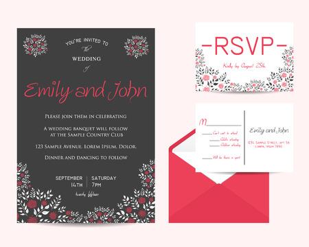 rsvp: wedding floral set with invitation and rsvp cards