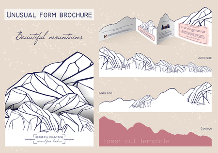 slew: unusual form brochure. beautiful booklet in the shape of mountains. laser cutting template
