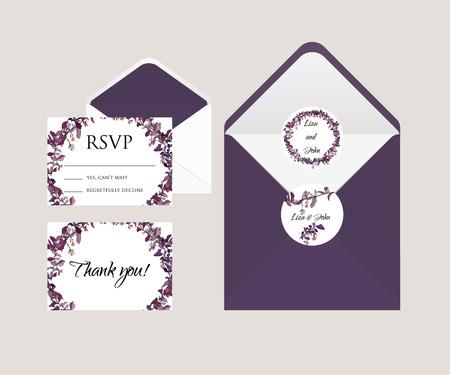 rsvp: invitation wedding cards. rsvp card, envelope and stickers