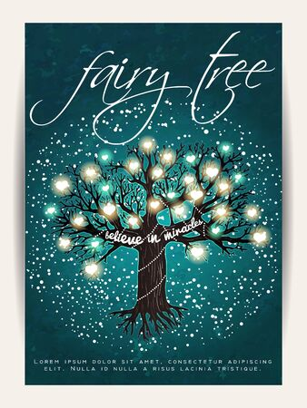 fairy tree: Beautiful fairy tree, decorated with glowing hearts