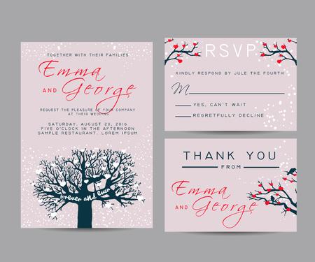 fairy tree: beautiful wedding invitation set with fairy tree