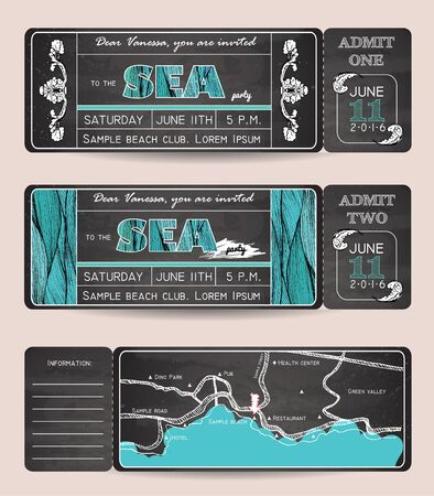 wedding invitation vintage: Summer Invitation Template. Chalkboard design. Ticket to a sea party or celebration with road map