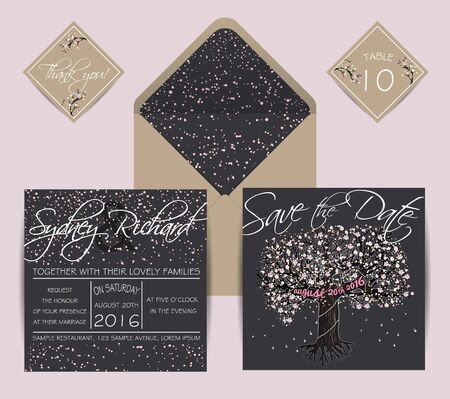 Beautiful Wedding Invitation, Decorated With Blooming Tree. Vintage ...