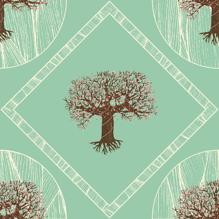 fairy tree: seamless pattern. blooming fairy tree with root. geometric design