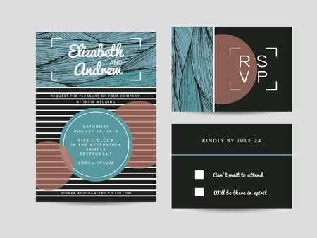 rsvp: wedding invitation set with rsvp card. beautiful wavy ornament background