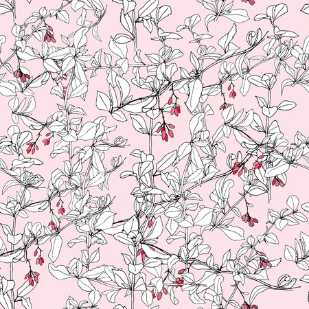 barberry: Hand drawn barberry branch seamless pattern