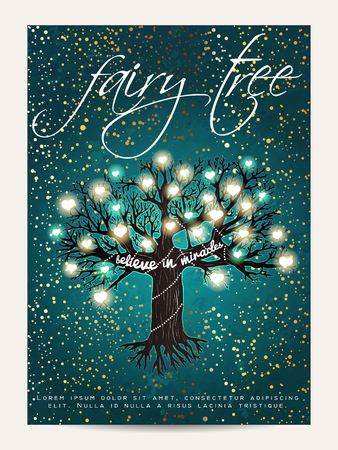 Beautiful fairy tree, decorated with glowing hearts and golden glitter Ilustração