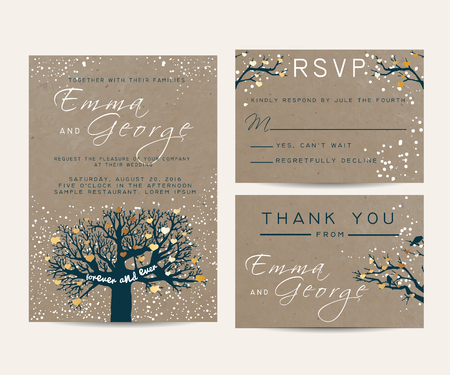fairy tree: beautiful wedding invitation set with fairy tree, decorated with golden hearts